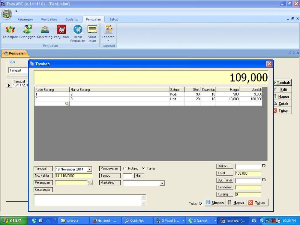 Software Toko Portable Gratis Tampilan Baru (Agen=2; Klien=1)