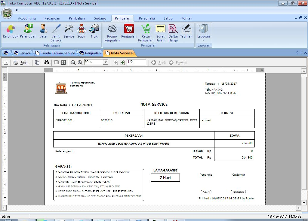 Tutorial Entri Transaksi Service Hp Menggunakan Aplikasi